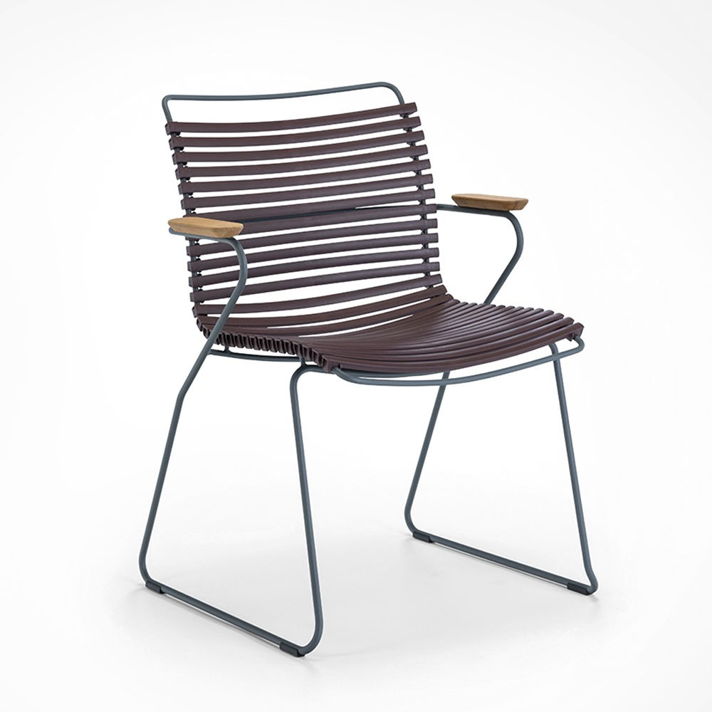 Click dining chair plum with bamboo armrests Houe