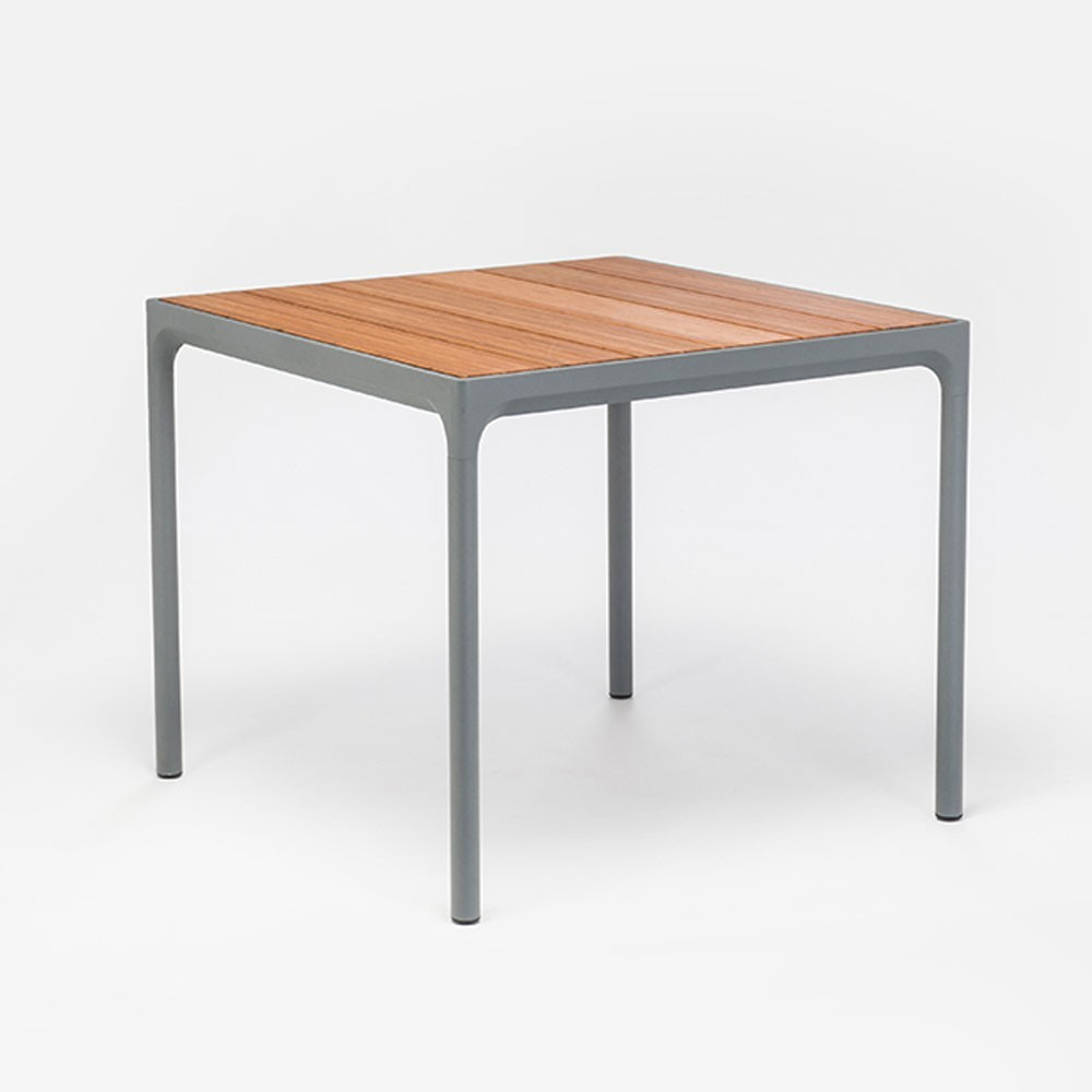 Four dining table 90x90cm grey & bamboo Houe