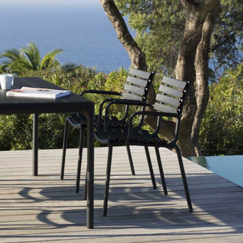 Four dining table 90x90cm black & bamboo Houe