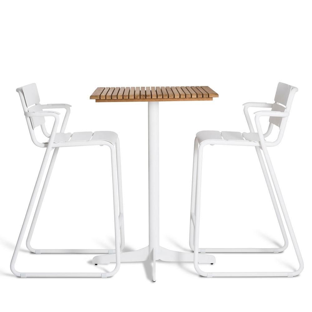 Ceru bar table 70x70cm white/teak Oasiq