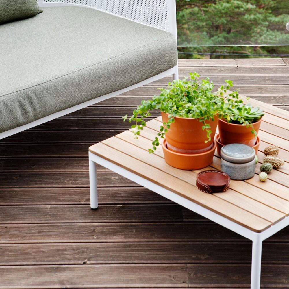 Riad coffee table 74x74cm teak/white Oasiq
