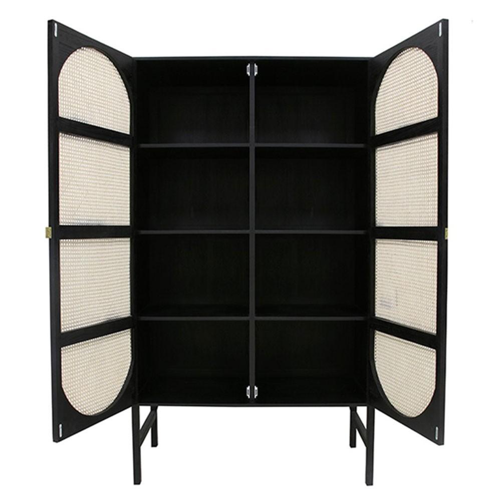 Retro webbing cabinet black with shelves HKliving