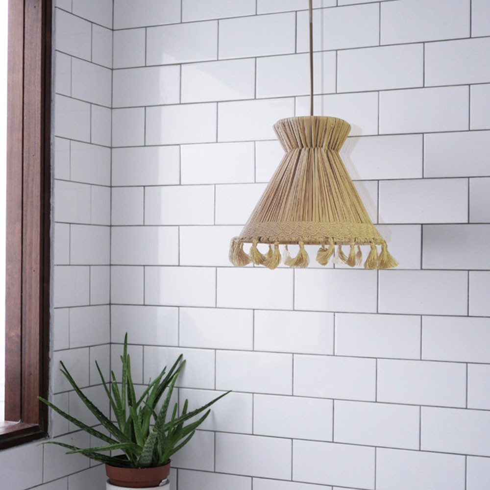 Conical pendant lamp raffia XS Honoré