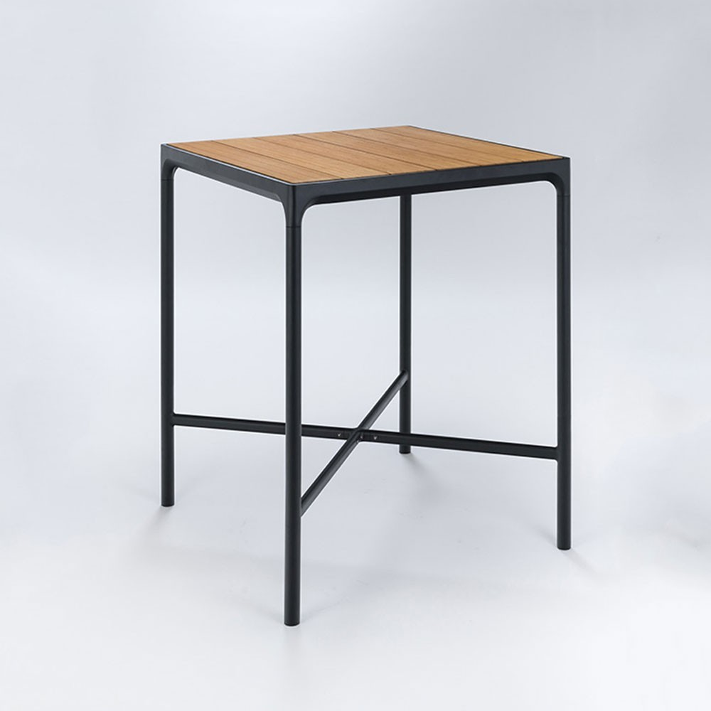 Four bar table 90x90cm black & bamboo Houe