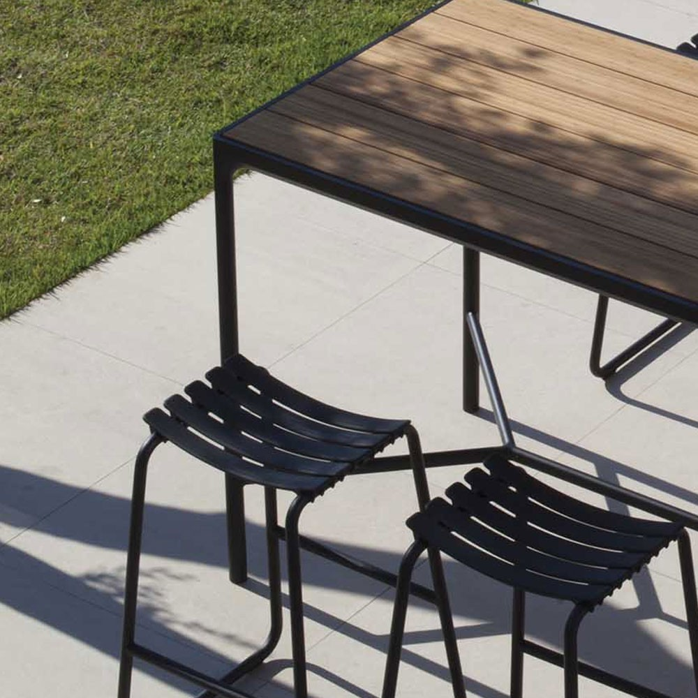 Table haute Four 90x90cm noir & bambou Houe