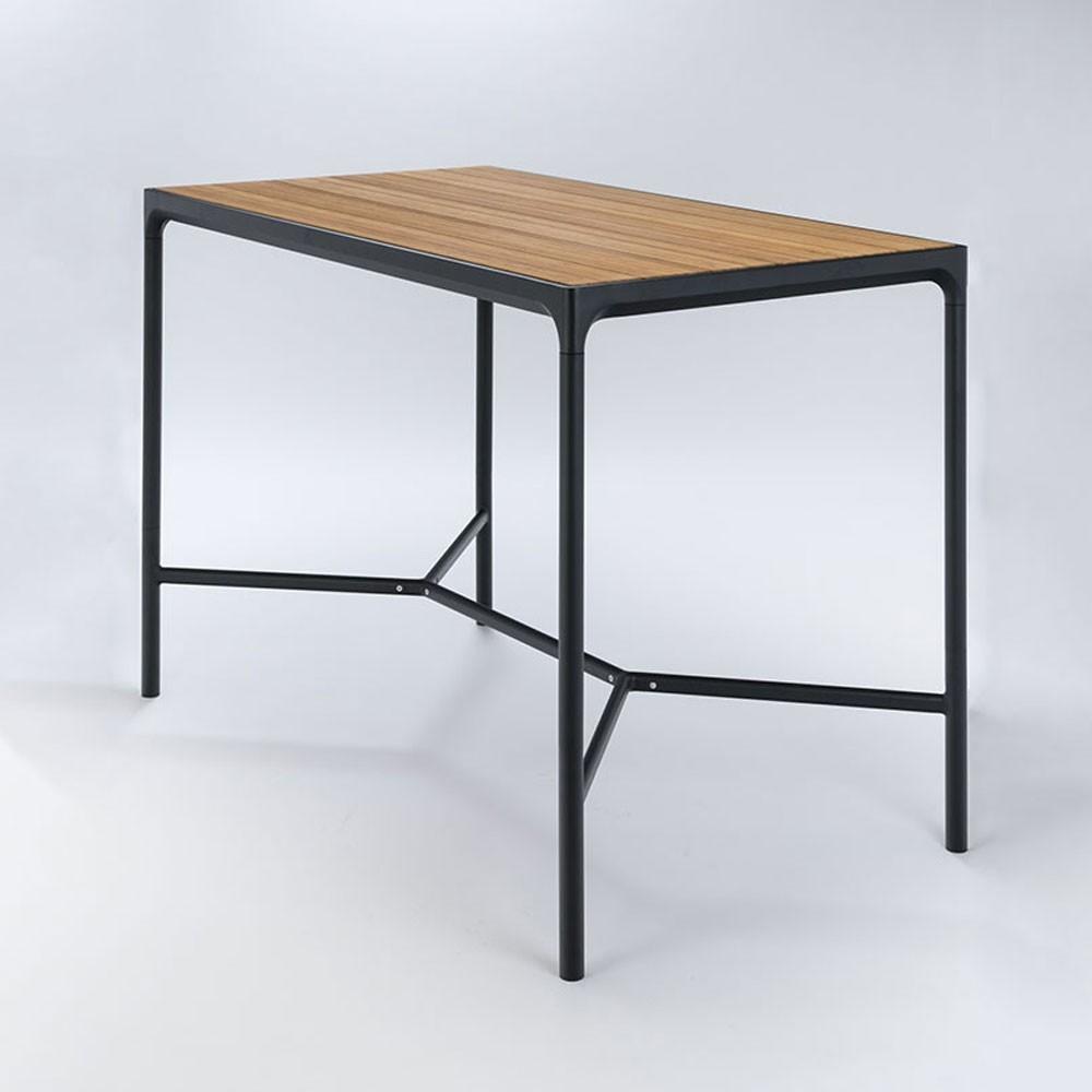 Table haute Four 90x160cm noir & bambou Houe