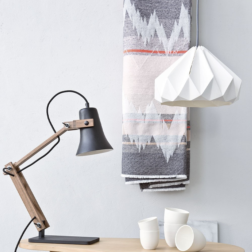 Chestnut paper origami lampshade white Snowpuppe
