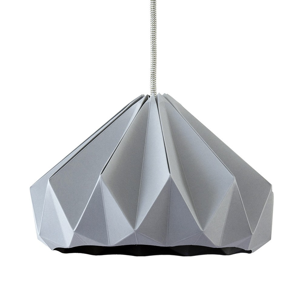 Chestnut paper origami lampshade grey Snowpuppe