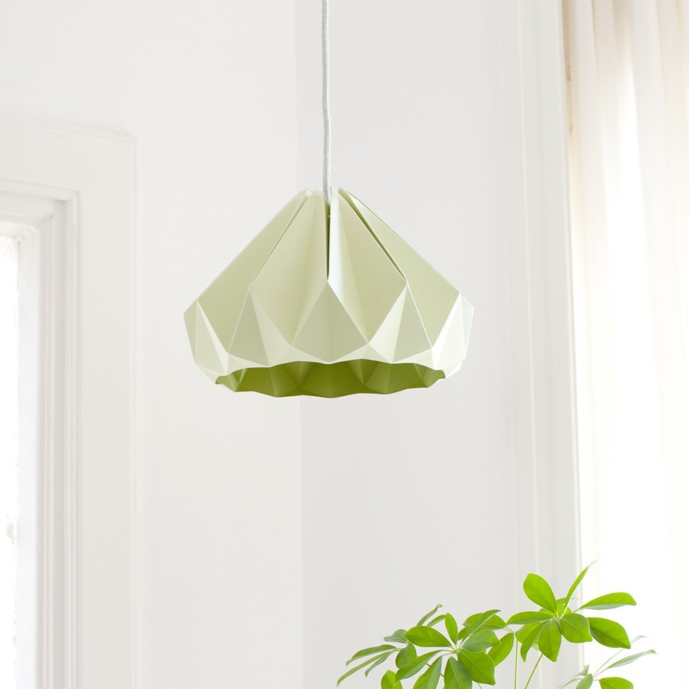 Chestnut paper origami lampshade autumn green Snowpuppe