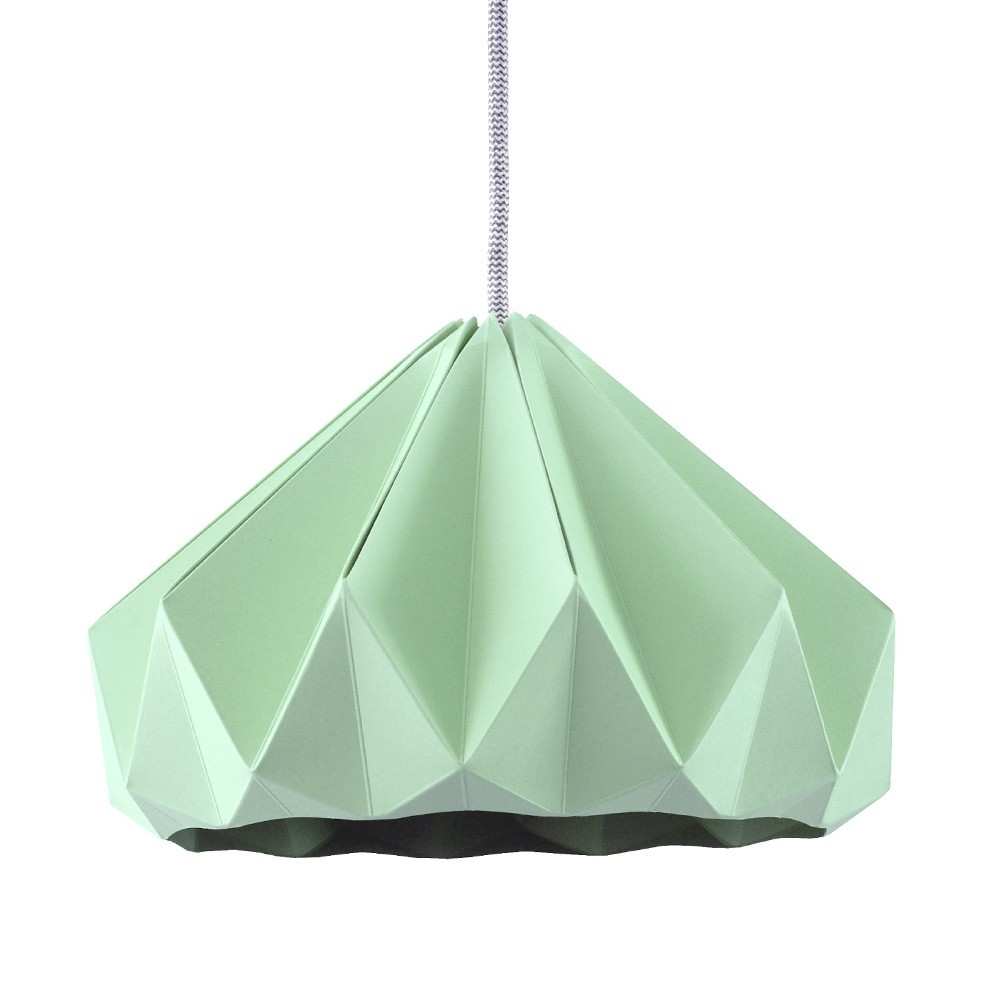Chestnut paper origami lampshade mint green Snowpuppe