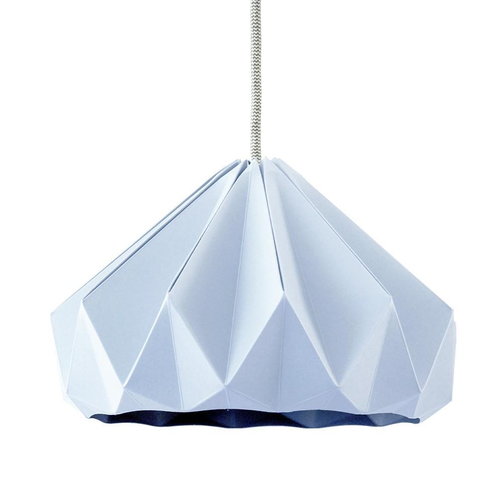 Origami hanglamp in pastelblauw kastanjepapier Snowpuppe