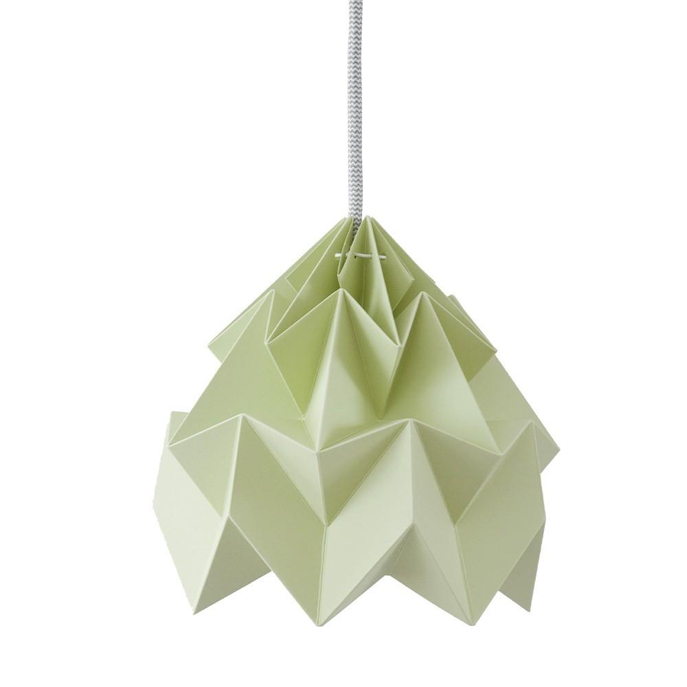 Moth paper origami lamp autumn green Snowpuppe