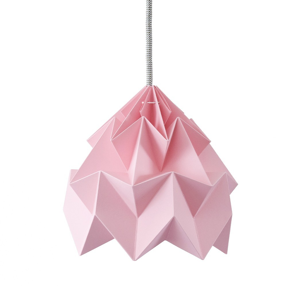 Moth paper origami lamp pink Snowpuppe