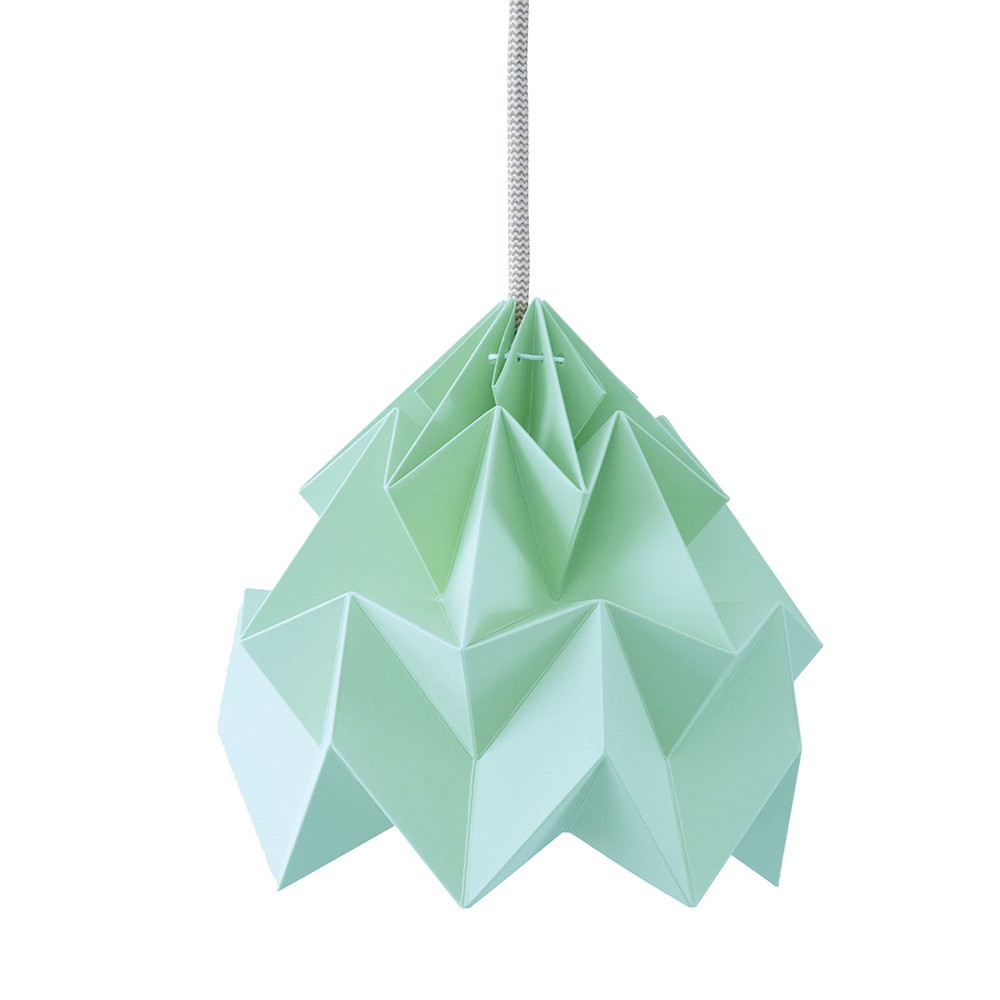 Origami-suspensie in mottengroen papier Snowpuppe