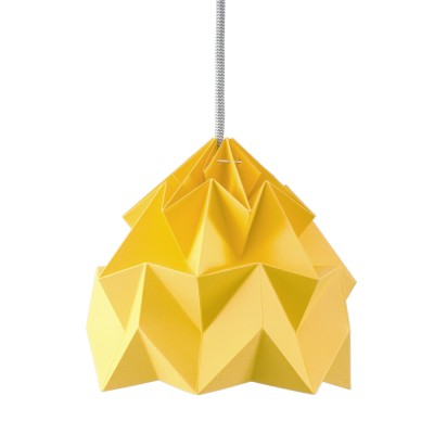 Moth paper origami lamp gold yellow Snowpuppe