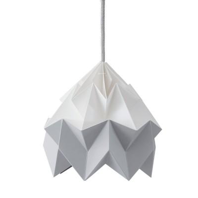 Origami-ophanging in wit en grijs mottenpapier Snowpuppe