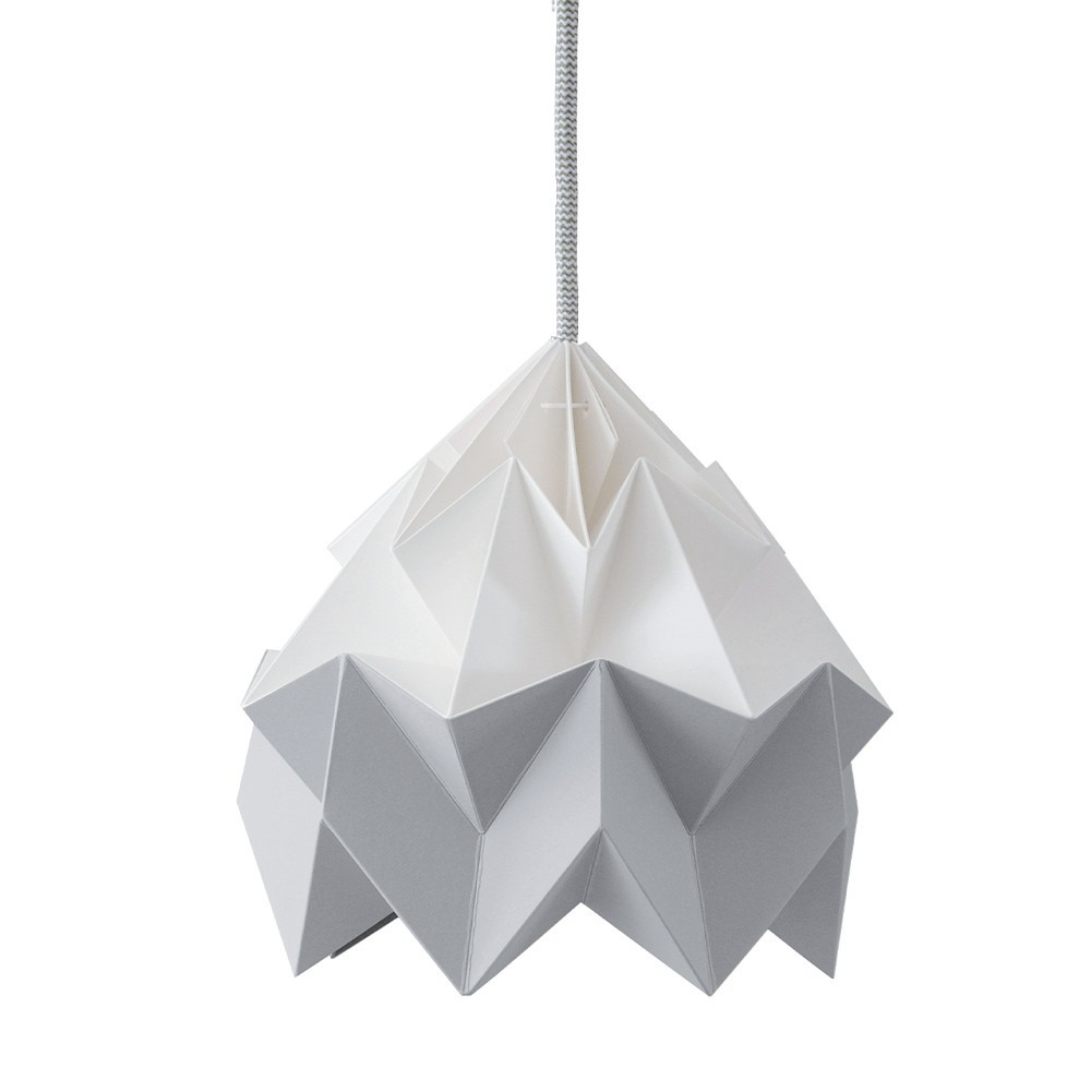 Moth paper origami lamp white & grey Snowpuppe