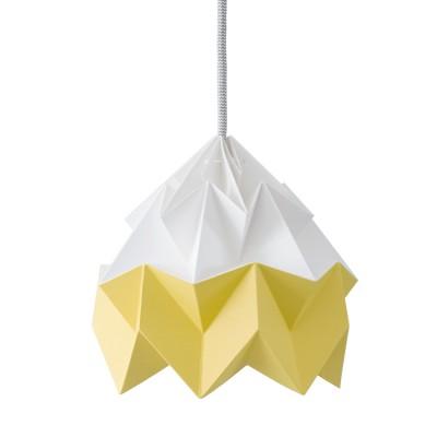Origami-suspensie in wit en goudgeel mottenpapier Snowpuppe