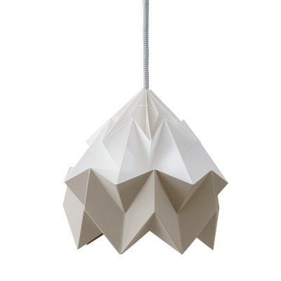 Moth paper origami lamp white & brown Snowpuppe
