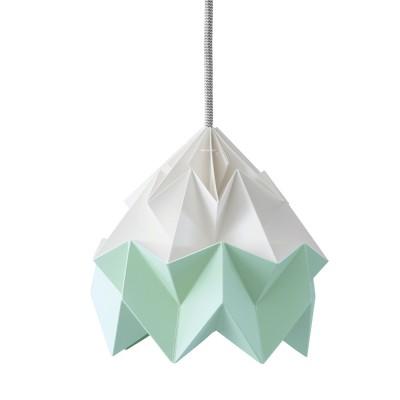 Origami hanglamp in wit & mintgroen Moth papier Snowpuppe