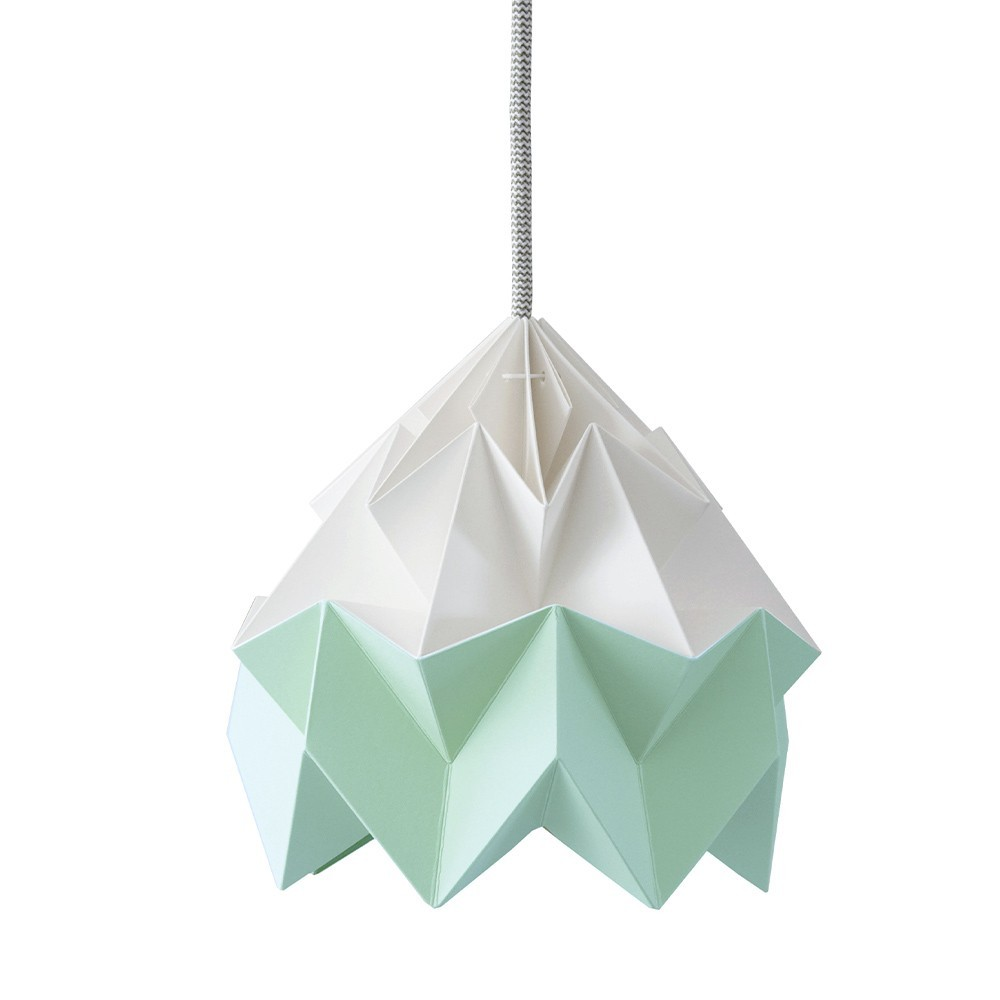 Moth paper origami lamp white & mint green Snowpuppe