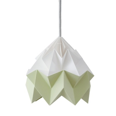 Moth paper origami lamp white & autumn green Snowpuppe