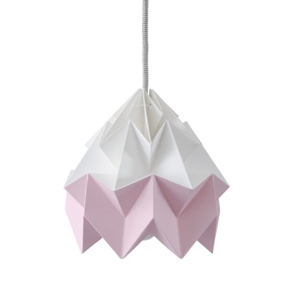 Suspension origami en papier Moth blanc & rose Snowpuppe