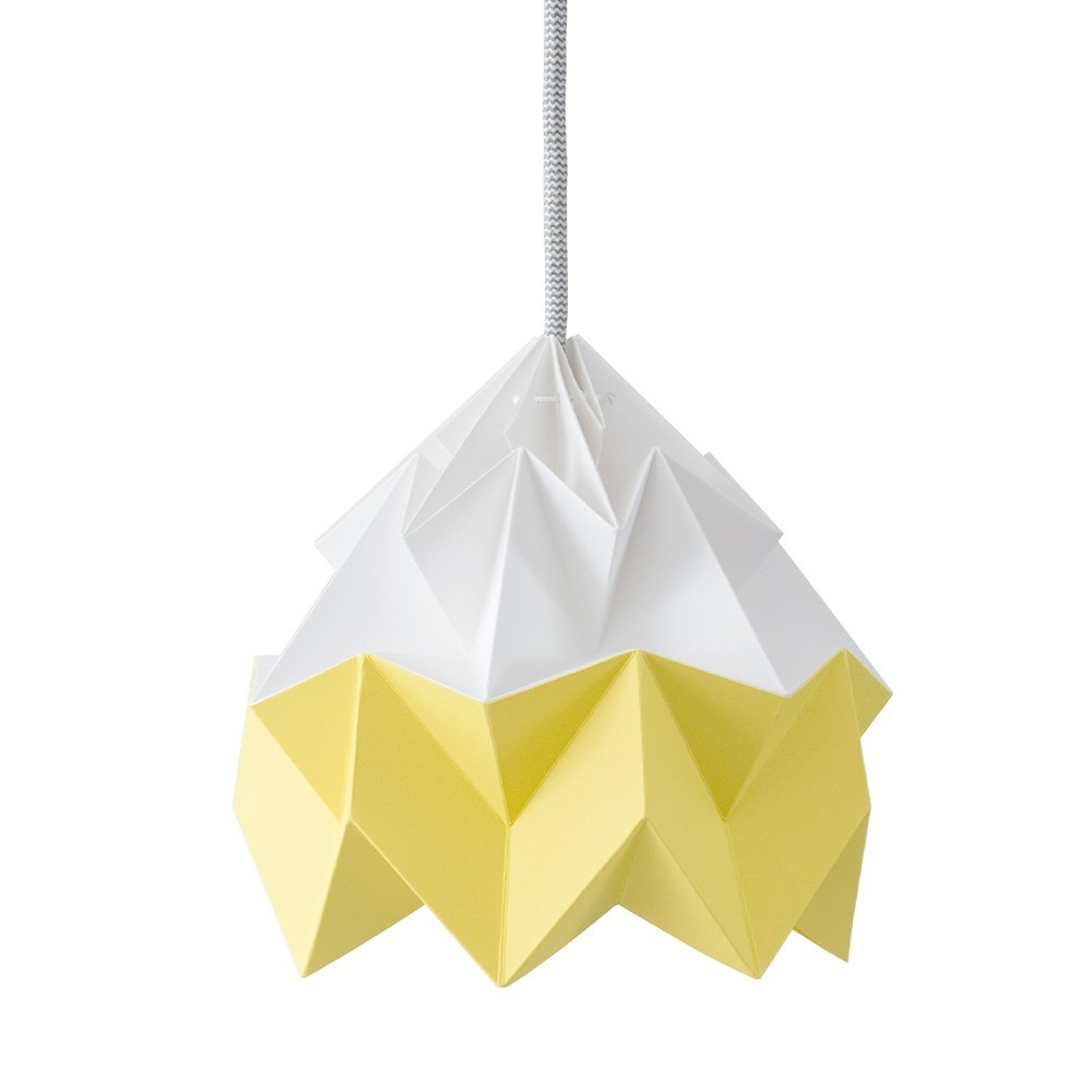 Moth paper origami lamp white & autumn yellow Snowpuppe