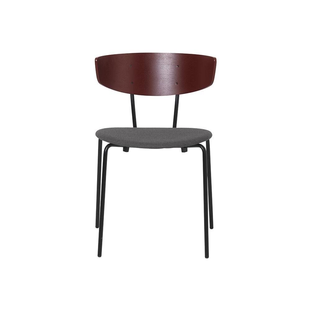 Lot de 2 chaises Herman tissu gris & rouge brun Ferm Living