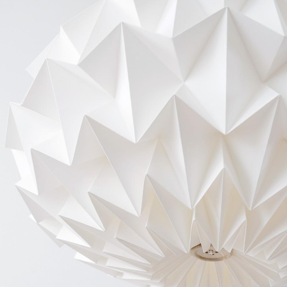 Signature folded paper origami lampshade white Snowpuppe