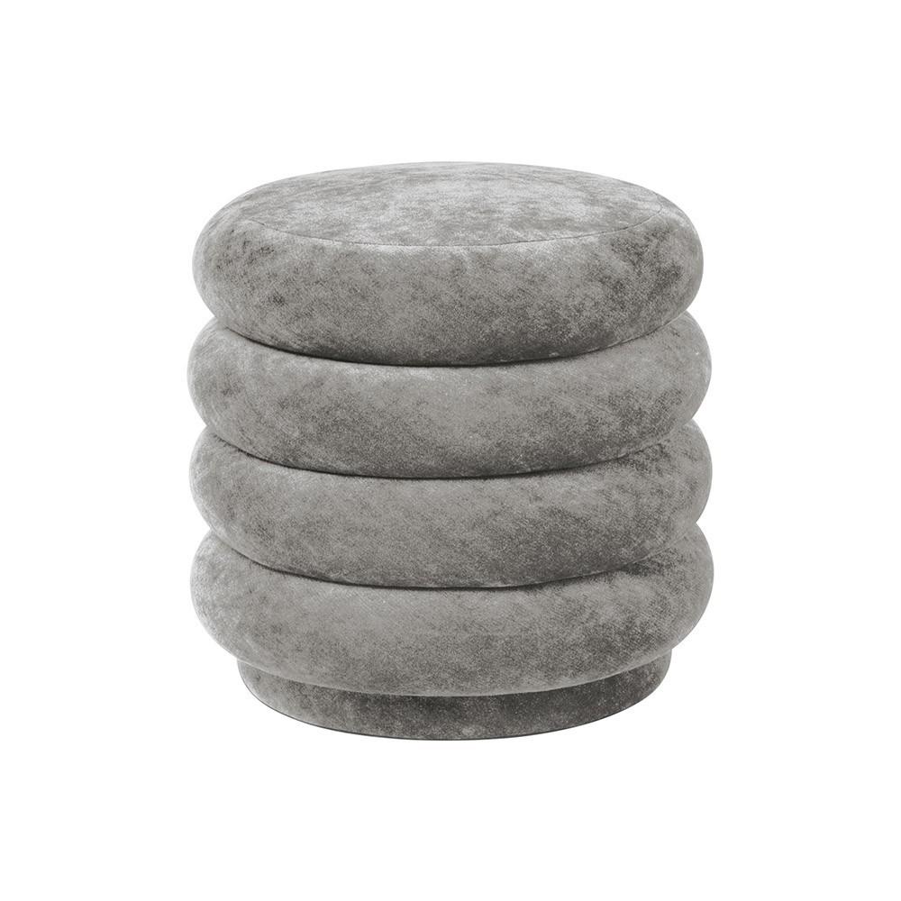 Round pouffe S concrete velvet Ferm Living