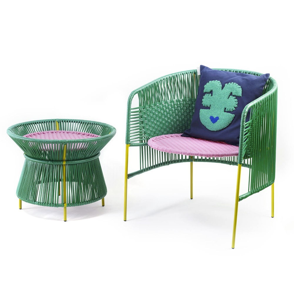 Caribe basket table green, pink & curry ames