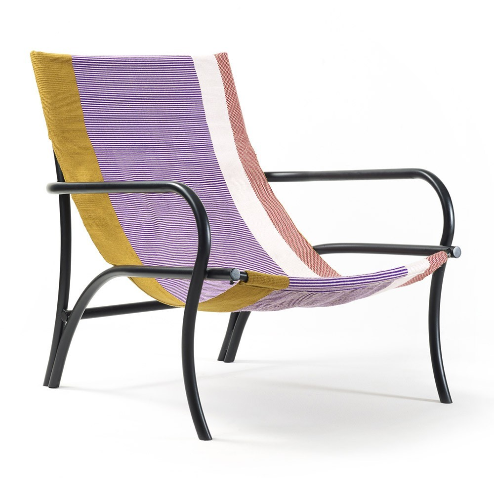 Maraca fauteuil goud, paars, rood & zwart ames
