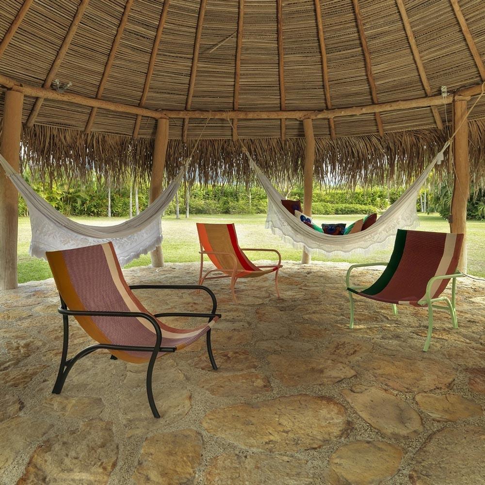 Maraca armchair gold, purple, red & black ames