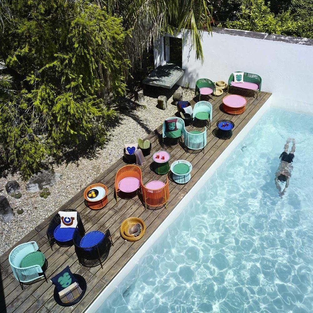 Caribe hoge bijzettafel groen, roze & curry ames