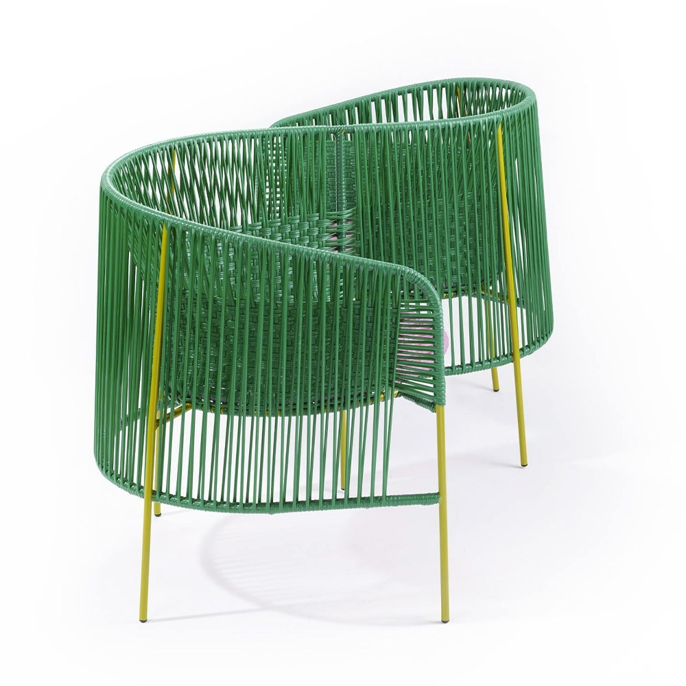 Vis a vis armchair Caribe green, pink & curry ames
