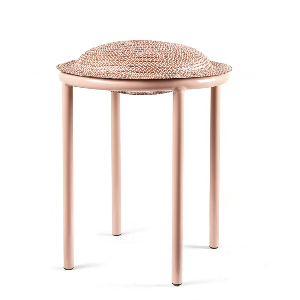 Cana stool dark red, natural & carne ames