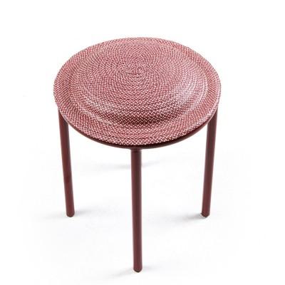 Cana stool vivid red, natural & dark red ames