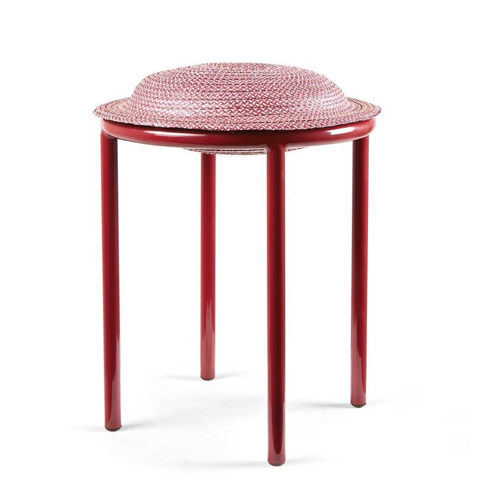 Cana stool vivid red, natural & dark red ames