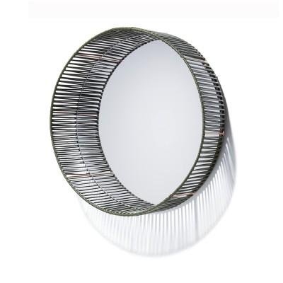 Cesta mirror round oliv green & carne ames