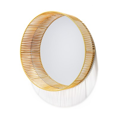 Cesta mirror round honey & sand ames
