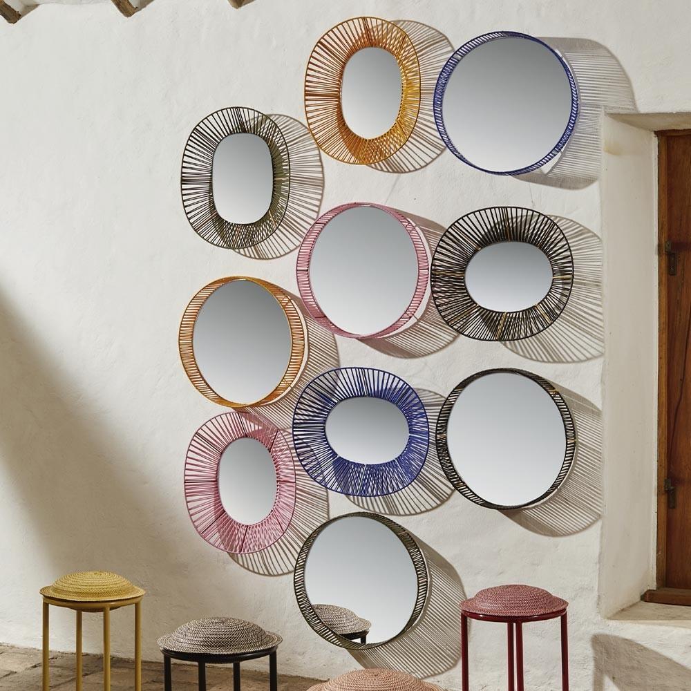 Cesta mirror round honey & sand ames