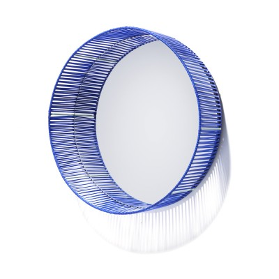 Cesta mirror round blue & mint ames