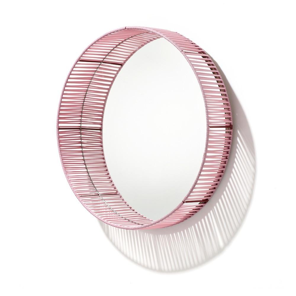 Cesta mirror round rose & red ames
