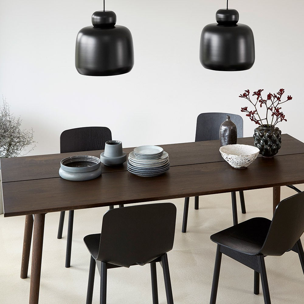 Alley 205 cm table smocked oak and black Woud