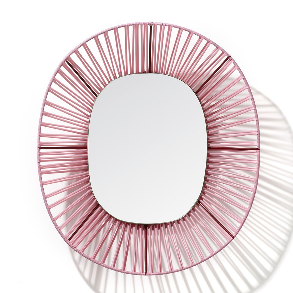 Cesta oval mirror rose & red ames