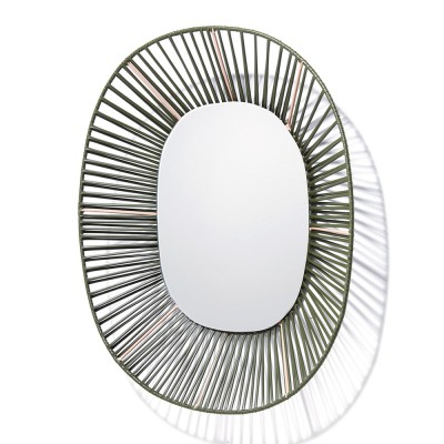 Cesta oval mirror olive green & carne ames