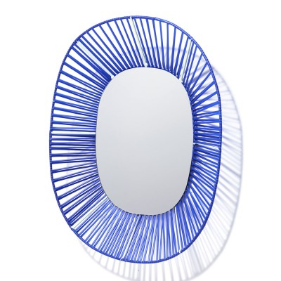 Cesta oval mirror blue & mint ames