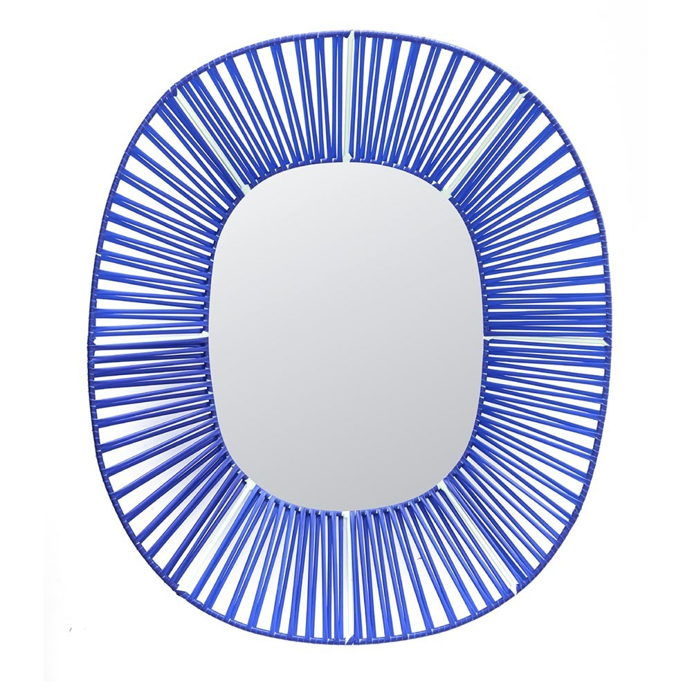 Cesta oval mirror blue & mint ames
