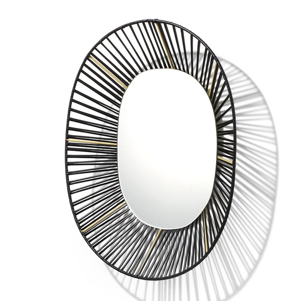 Cesta oval mirror black & sand ames